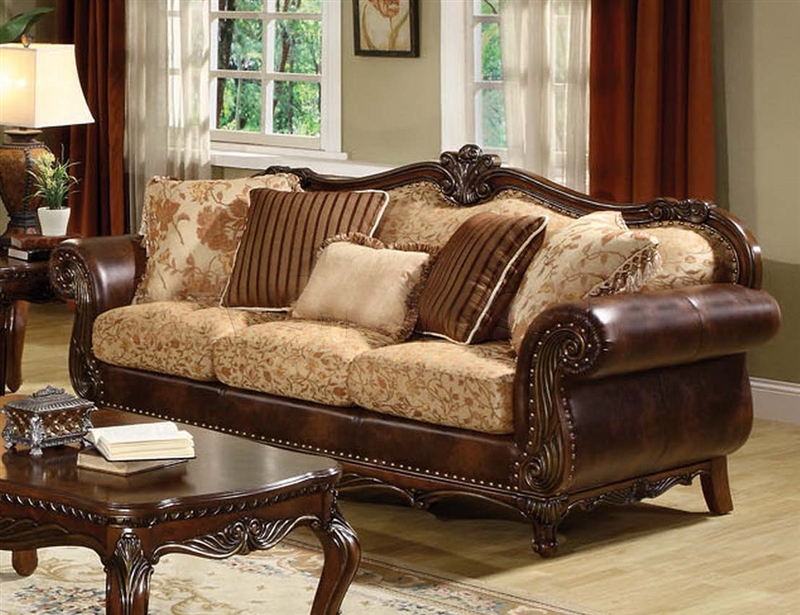 Sofa In Brown Cherry Finish By Acme 50155