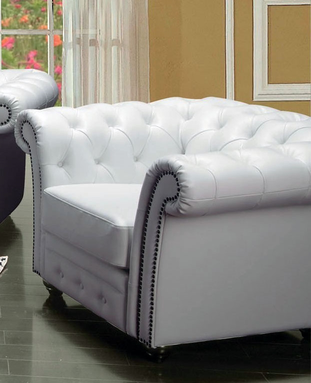 Camden White Leather Chair by Acme - 50167