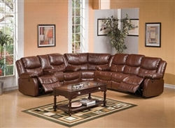 Fullerton 3 Piece Power Reclining Sectional in Brown Bonded Leather by Acme - 50204-SEC