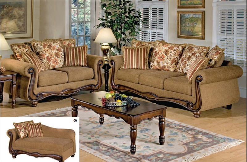 Odysseus 2 Piece Macy Brown Floral Fabric Sofa Set By Serta Upholstery    50310 S