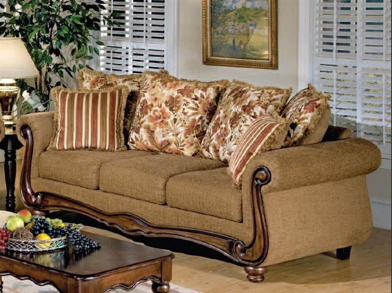 Odysseus 2 Piece Macy Brown Floral Fabric Sofa Set by Serta ...