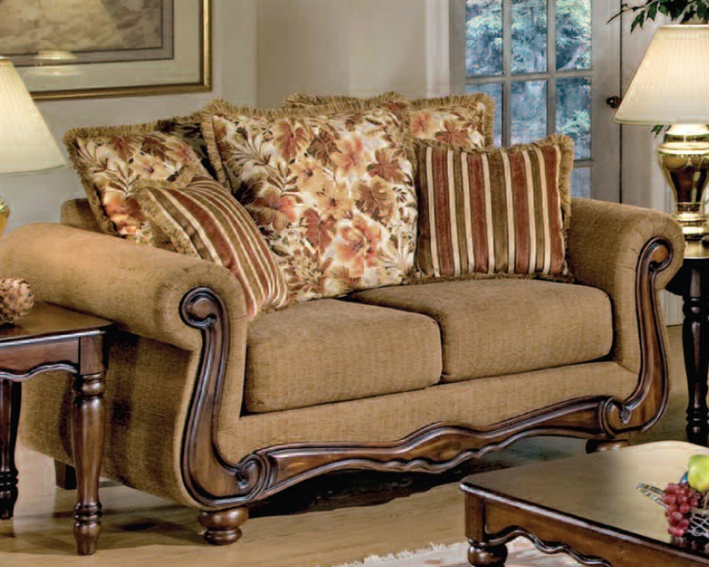 Odysseus 2 Piece Macy Brown Floral Fabric Sofa Set By Serta Upholstery -  50310-S
