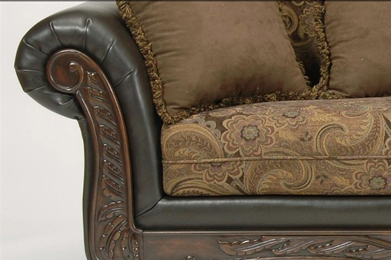 Ronalynn Loveseat In San Mario Chocolate Silas Raisin Fabric By