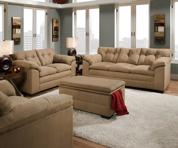 Simmons Living Room Set. Velocity Latte 2 Piece Fabric Sofa Set by Simmons  50360 S