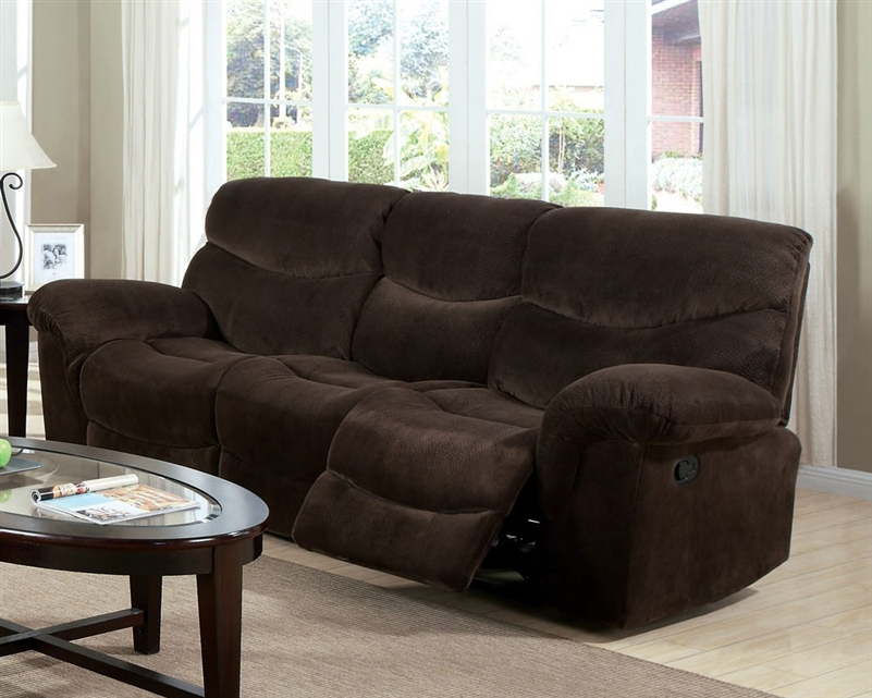 & Loakim Chocolate Microfiber Reclining Sofa by Acme - 50480 islam-shia.org