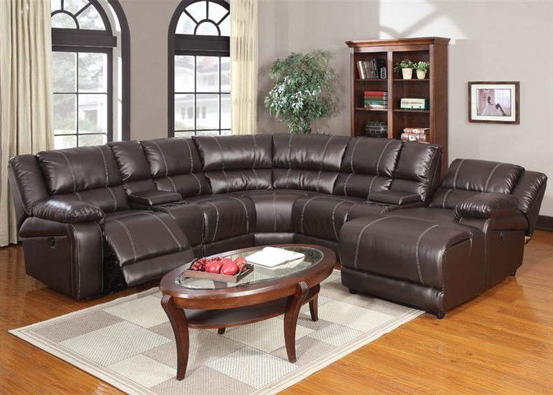 Zanthe Espresso Leather 7 Piece Power Reclining Sectional