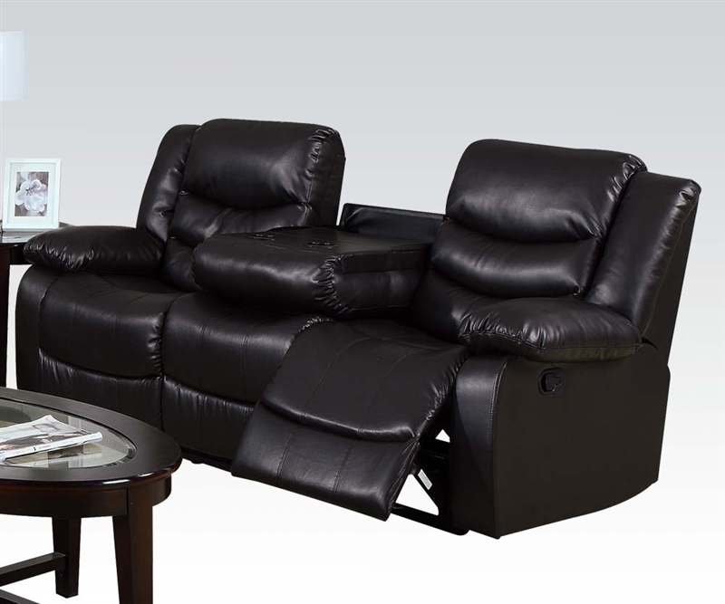 Torrance Espresso Leather Reclining Sofa With Drop Down Table By Acme 50575