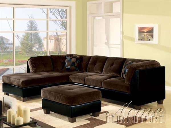 Deltona Ultra Plush Sectional Sofa in Brown Microfiber and Black ...