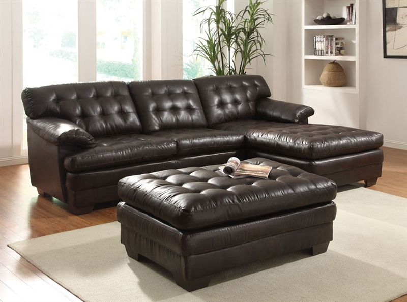 Fabulous Nigel Dark Brown Bonded Leather Sectional By Acme 50770 Ncnpc Chair Design For Home Ncnpcorg
