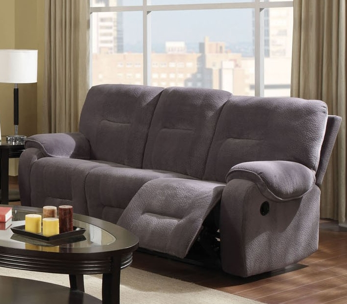 Light Grey Microfiber Reclining Sofa