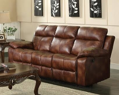 Dyson Light Brown Polished Microfiber Reclining Sofa By Acme   50815