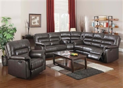 Neon 3 Piece Reclining Sectional in Dark Brown Leather by Acme - 50840-SEC