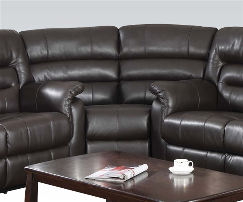 Italian Leather Sofa By Cake: Neon 3 Piece Reclining Sectional In Dark Brown Leather By