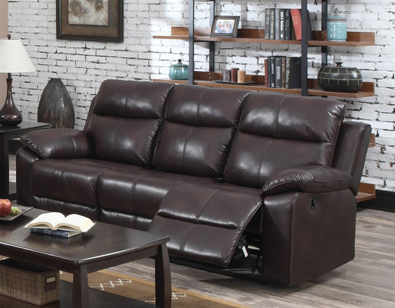 Dyson Burgundy Leather Aire Reclining Sofa by Acme - 50855