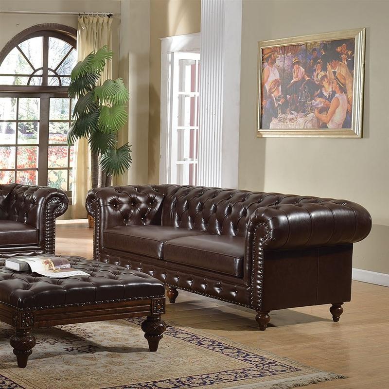 Shantoria Dark Brown Leather Sofa By