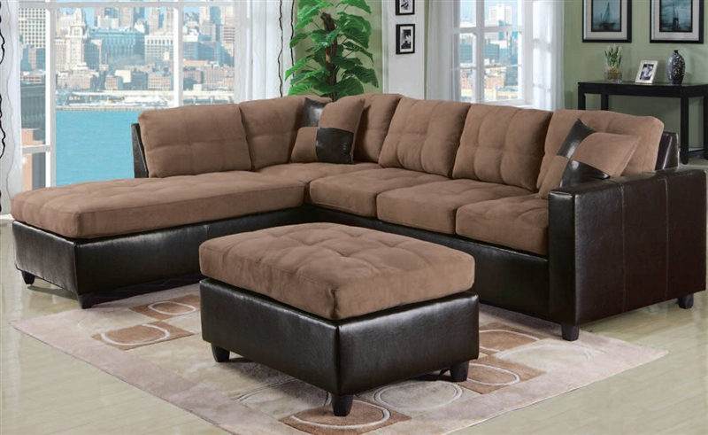 Milano Saddle Easy Rider / Espresso Bycast Left Facing Chaise Sectional by Acme - 51330 : left facing chaise sectional - Sectionals, Sofas & Couches