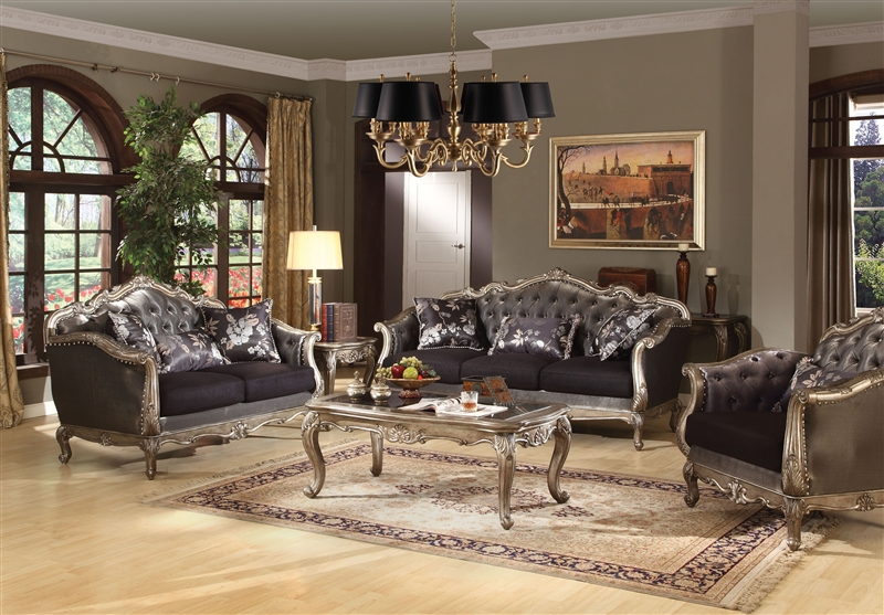 Chantelle 2 Piece Sofa Set In Antiqued Silver Finish By Acme