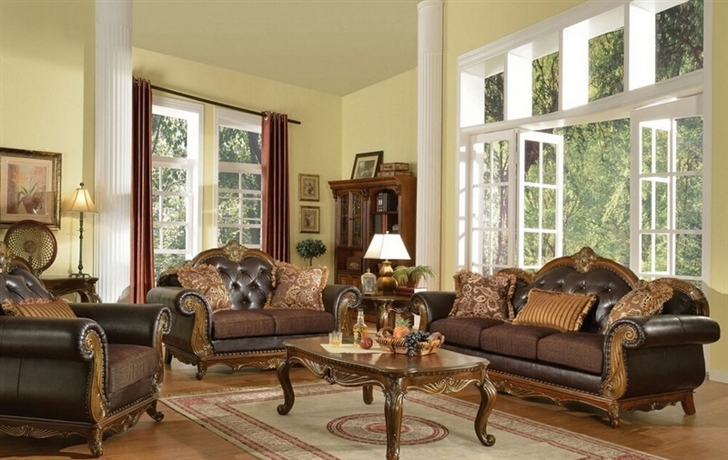 Dorothea 2 Piece Sofa Loveseat Living Room Set In Cherry Finish By Acme    51590 S