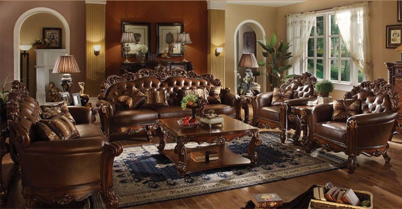 Vendome 6 Piece Complete Living Room Set in Cherry Finish by Acme - 52000-6