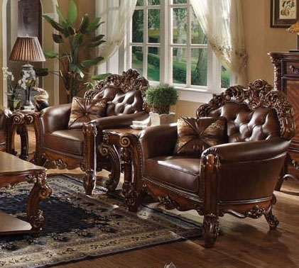 Vendome 3 Piece Accent Chair Living Room Set in Cherry Finish by Acme -  52003-S