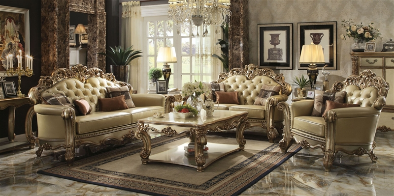 Vendome 2 Piece Sofa Loveseat Set In Gold Patina Finish By Acme   53000 S