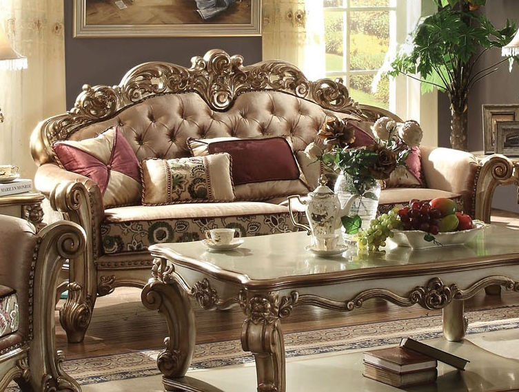Bon Vendome 2 Piece Sofa Loveseat Set In Gold Patina Finish By Acme   53010 S