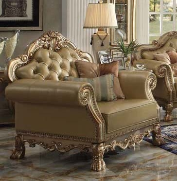 Remarkable Dresden Chair In Gold Patina Finish By Acme 53162 Machost Co Dining Chair Design Ideas Machostcouk