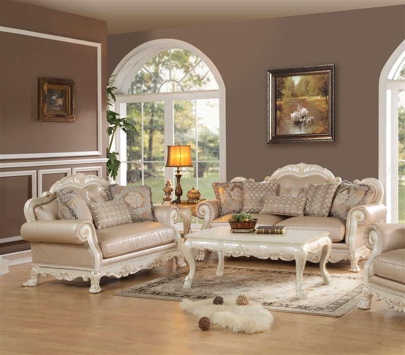 Dresden 2 Piece Living Room Set in Antique White Finish by Acme - 53260-S