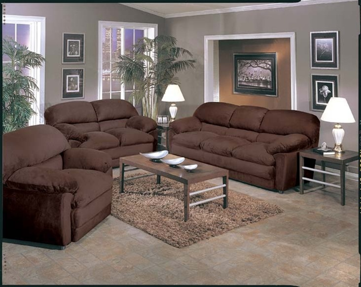 Bella 2 piece chocolate microfiber sofa set by acme 5585 s for Microsuede living room furniture