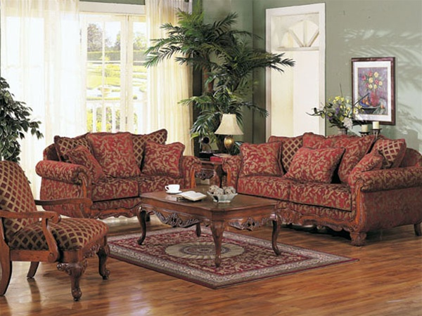 Fantastic Georgian Court Two Piece Sofa Set In Floral Chenille Fabric Cover By Acme 5615S Gmtry Best Dining Table And Chair Ideas Images Gmtryco