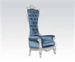 Raven Neo Classic Throne Chair Silver and Blue Accent Chair by Acme - 59142