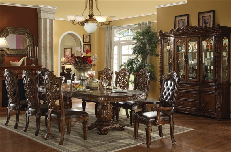 Vendome 7 Piece Double Pedestal Table Dining Set In Cherry Finish By Acme