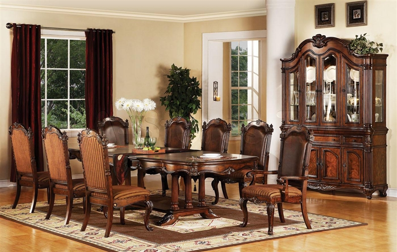 Remington 7 Piece Dining Set In Brown Cherry Finish By Acme