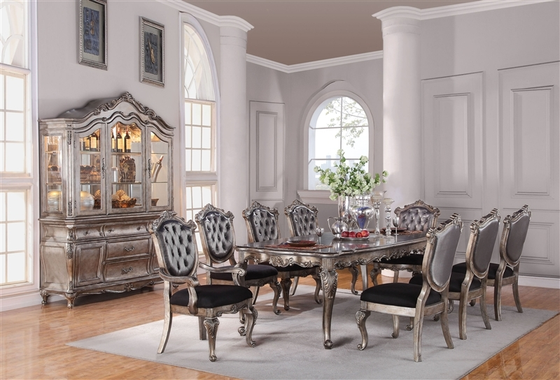 Chantelle 7 Piece Dining Set in Antique Silver Finish by Acme - 60540