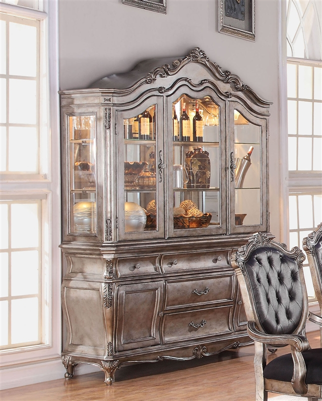 Chantelle 7 Piece Dining Set In Antique Silver Finish By