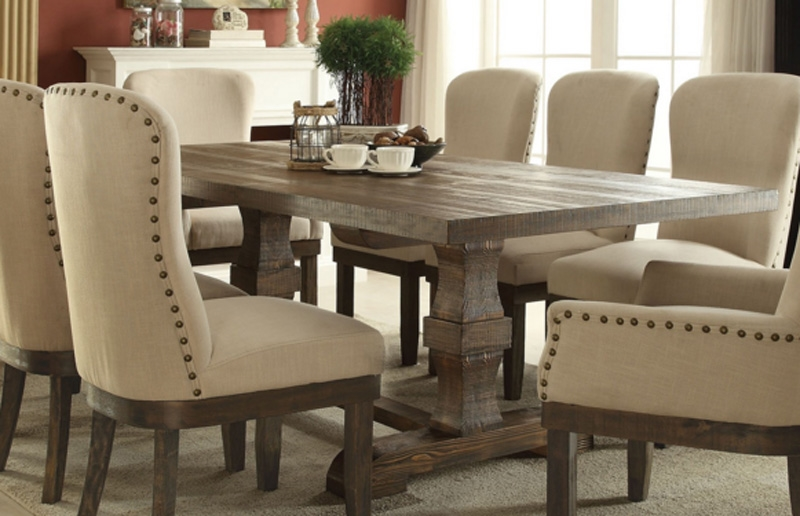 Landon 8 Piece Complete Dining Set In Salvage Brown Finish By Acme   60737 C