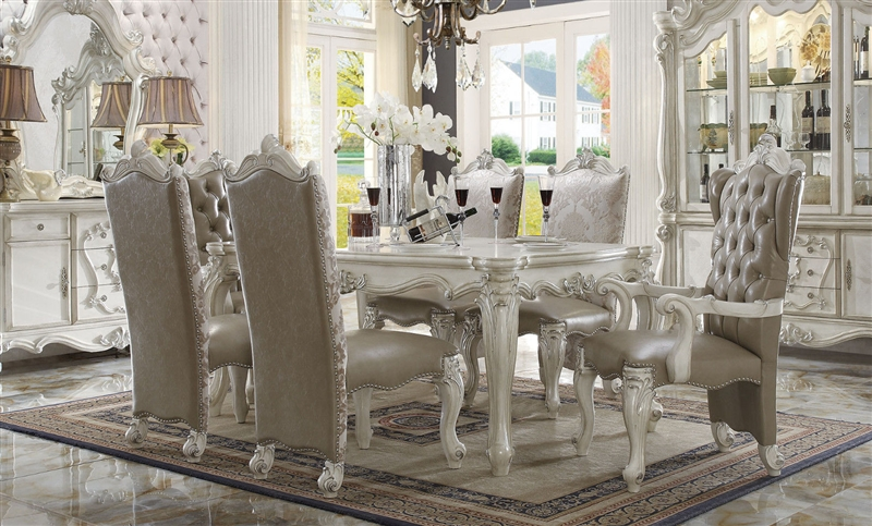 Versailles Leg Table 7 Piece Dining Set In Bone White Finish By Acme   61140