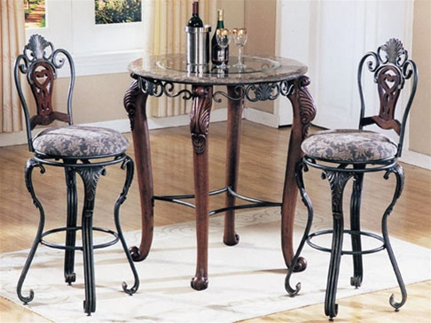 Piece Catania Marble and Glass Top Bar Table Set by Acme - 6120