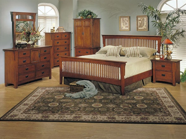 6 Piece Ridgeville Mission Bedroom Set In Oak Finish By Acme   6190