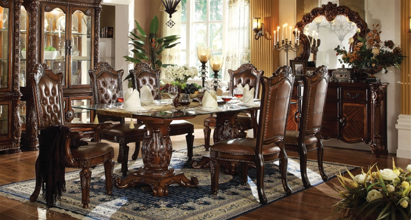 Glass Top Double Pedestal Table Dining, Vendome Dining Room Set