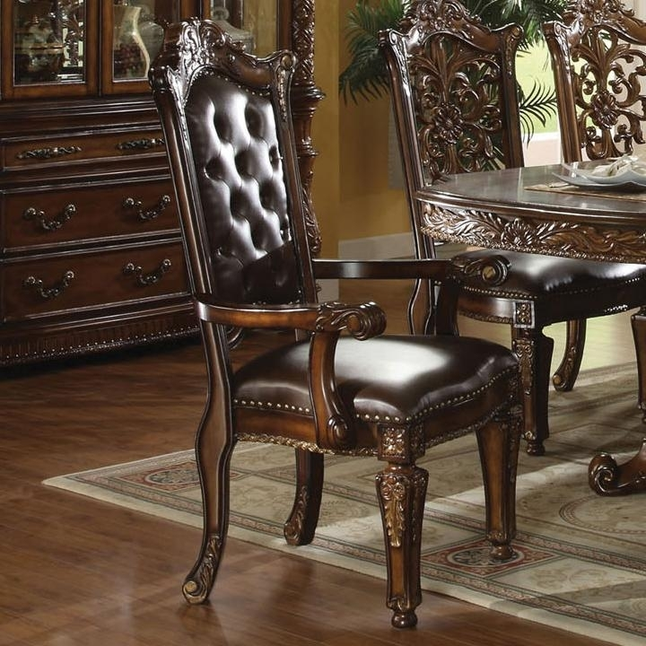 Vendome 7 Piece Glass Top Double Pedestal Table Dining Set in
