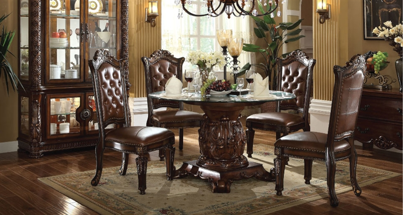 Vendome 5 Piece 54-Inch Glass Top Pedestal Table Dining Set in ...
