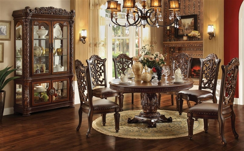 Vendome 5 Piece 60 Inch Round Top Pedestal Table Dining Set In Cherry  Finish By Acme   62015