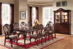 Gwyneth Leg Table 7 Piece Dining Set in Cherry Finish by Acme - 62870