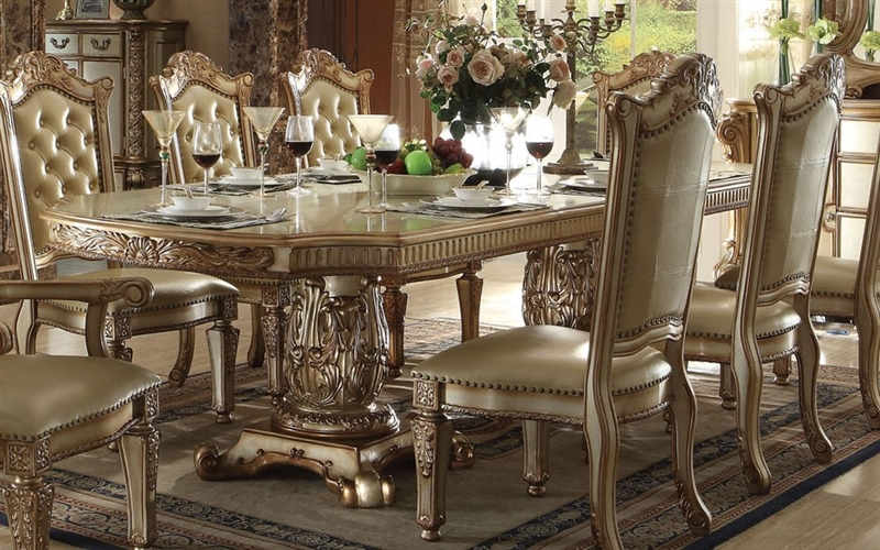 Vendome 7 Piece Double Pedestal Table Dining Set In Gold Patina Finish By  Acme   63000