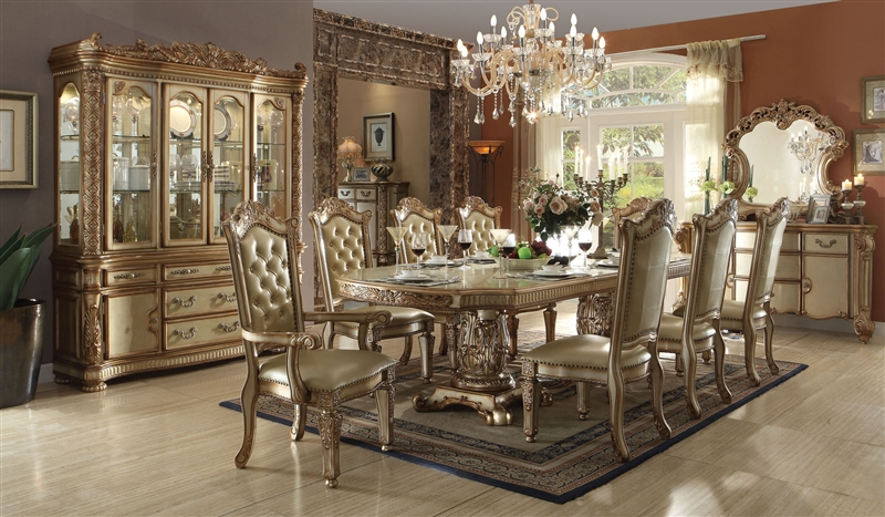 . Vendome Buffet and Hutch in Gold Patina Finish by Acme   63005