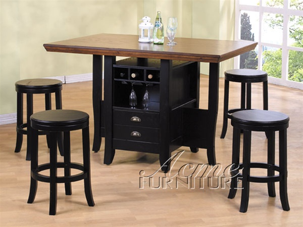 5 Piece Heritage Hill Counter Height Kitchen Island Set In Multi Tone  Finish By Acme   6305
