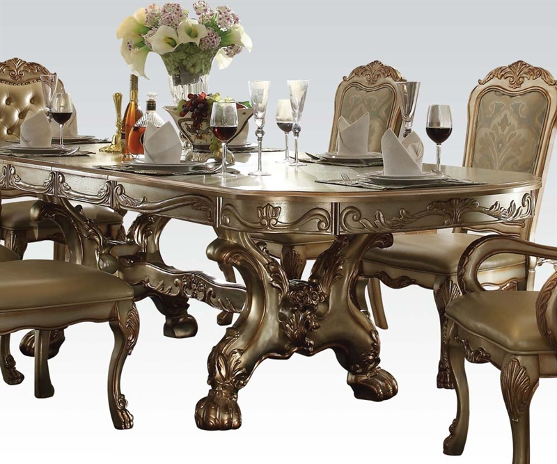Dresden 7 Piece Dining Set In Gold Patina Finish By Acme