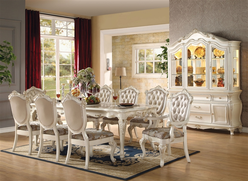 Chantelle 7 Piece Dining Set In Pearl White Finish By Acme   63540. Larger  Photo Email A Friend