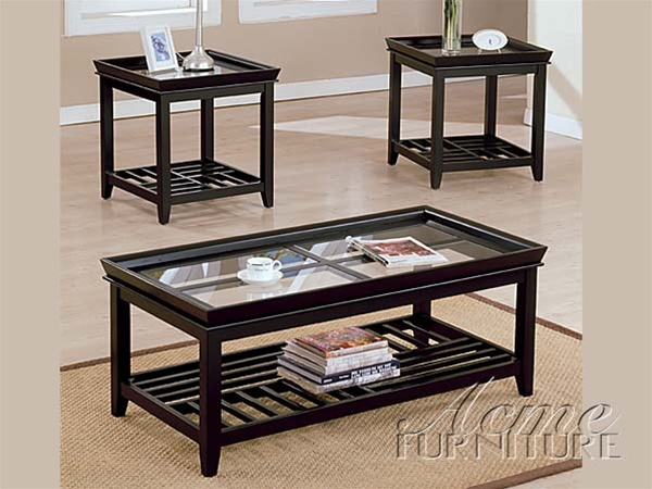 Ava Glass Top 3pc Coffee End Table Set In Espresso Finish By Acme 6362